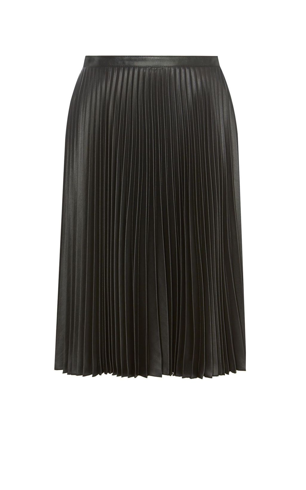 Wetlook Pleat Maxi Skirt, Black - length: below the knee; pattern: plain; fit: loose/voluminous; style: pleated; waist: mid/regular rise; predominant colour: black; occasions: work, occasion; fibres: polyester/polyamide - 100%; texture group: structured shiny - satin/tafetta/silk etc.; pattern type: fabric; season: s/s 2016; wardrobe: basic