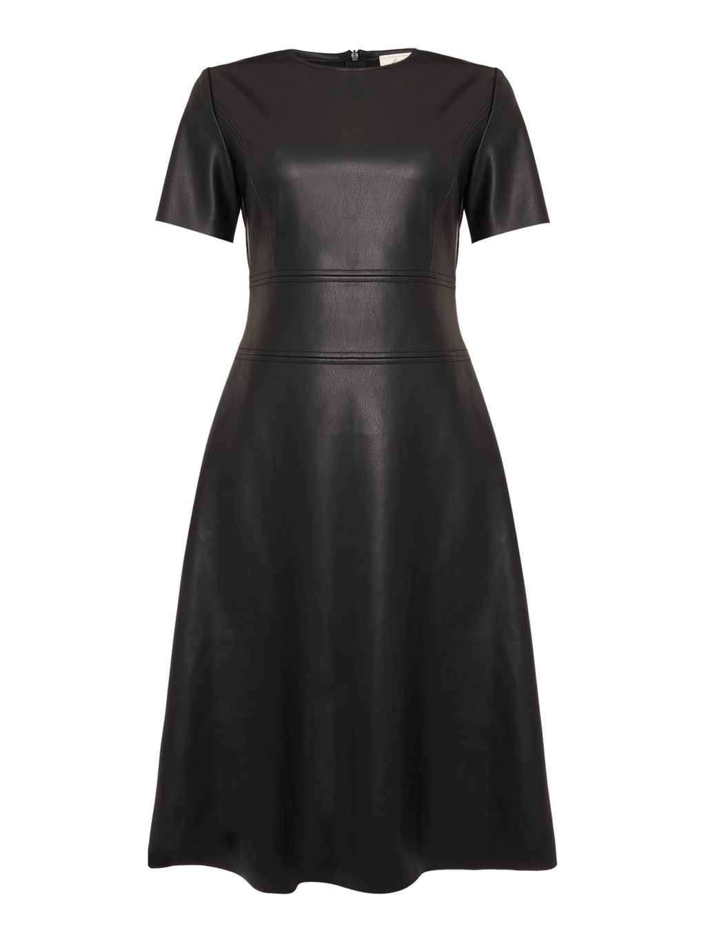 Flora Pu Full Skirted Dress, Black - pattern: plain; predominant colour: black; occasions: evening; length: just above the knee; fit: fitted at waist & bust; style: fit & flare; fibres: polyester/polyamide - 100%; neckline: crew; sleeve length: short sleeve; sleeve style: standard; texture group: leather; pattern type: fabric; season: s/s 2016; wardrobe: event