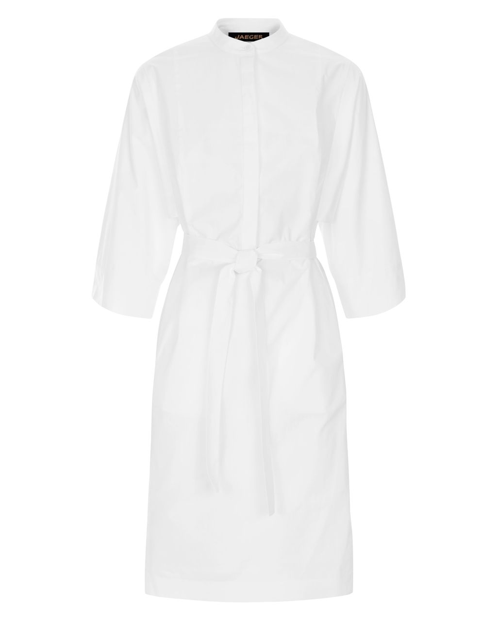 Draped Sleeve Shirt Dress, White - style: shirt; fit: tailored/fitted; pattern: plain; waist detail: belted waist/tie at waist/drawstring; predominant colour: white; occasions: casual, creative work; length: just above the knee; neckline: collarstand; fibres: cotton - 100%; sleeve length: 3/4 length; sleeve style: standard; texture group: cotton feel fabrics; pattern type: fabric; season: s/s 2016; wardrobe: basic