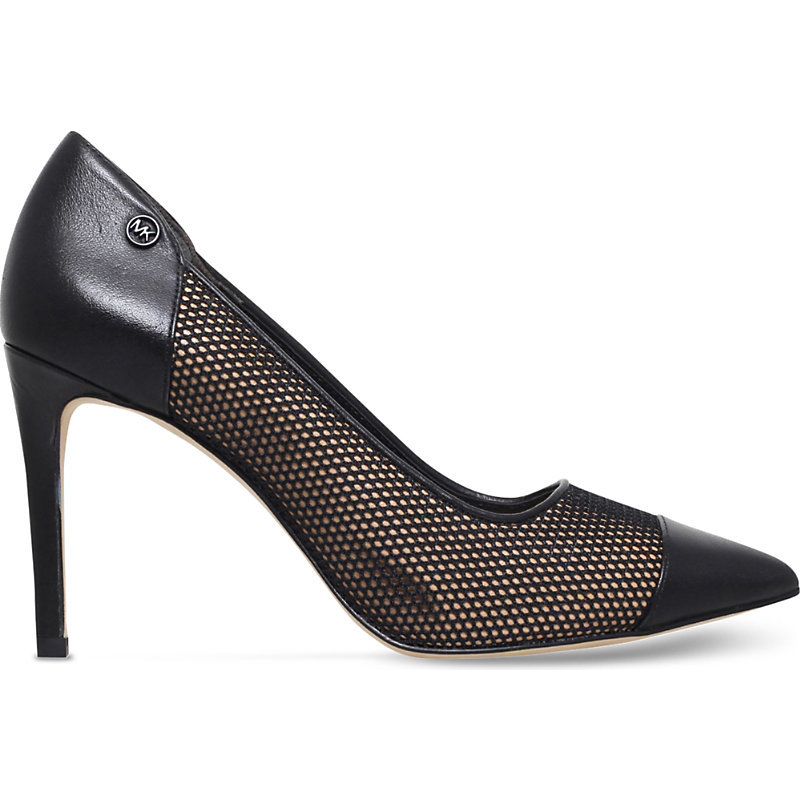 Leilah Leather And Mesh Courts, Women's, Eur 35 / 2 Uk Women, Black - predominant colour: black; occasions: evening, occasion; material: leather; heel height: high; heel: stiletto; toe: open toe/peeptoe; style: courts; finish: plain; pattern: plain; season: s/s 2016; wardrobe: event