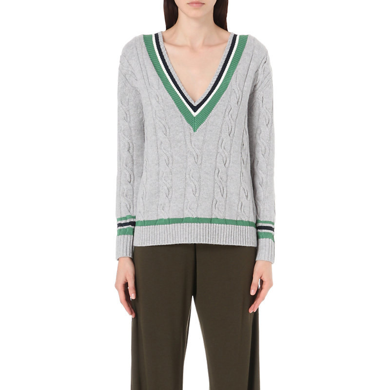 Collegiate Wool Blend Jumper, Women's, Size: Medium, Foggy - neckline: low v-neck; pattern: plain; style: standard; secondary colour: emerald green; predominant colour: light grey; occasions: casual, creative work; length: standard; fibres: wool - mix; fit: standard fit; sleeve length: long sleeve; sleeve style: standard; texture group: denim; pattern type: fabric; season: s/s 2016; wardrobe: highlight