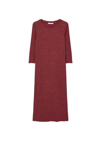 Tailored Ribbed Dress - style: shift; length: calf length; pattern: plain; predominant colour: burgundy; occasions: evening; fit: body skimming; fibres: viscose/rayon - stretch; neckline: crew; sleeve length: 3/4 length; sleeve style: standard; pattern type: fabric; texture group: jersey - stretchy/drapey; season: s/s 2016; wardrobe: event