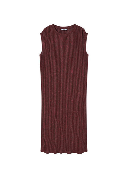 Ribbed Long Dress - style: shift; length: calf length; pattern: plain; sleeve style: sleeveless; predominant colour: burgundy; occasions: casual, evening, creative work; fit: body skimming; fibres: polyester/polyamide - mix; neckline: crew; sleeve length: sleeveless; pattern type: fabric; texture group: jersey - stretchy/drapey; season: s/s 2016; wardrobe: highlight