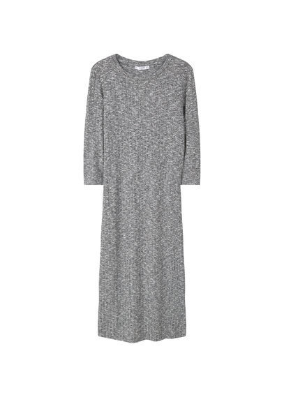 Tailored Ribbed Dress - style: shift; length: below the knee; neckline: round neck; fit: tight; predominant colour: light grey; occasions: casual; fibres: cotton - stretch; sleeve length: long sleeve; sleeve style: standard; pattern type: fabric; texture group: jersey - stretchy/drapey; pattern: marl; season: s/s 2016; wardrobe: basic