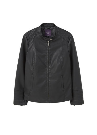 Biker Jacket - pattern: plain; style: biker; collar: standard biker; fit: slim fit; predominant colour: black; occasions: casual; length: standard; fibres: polyester/polyamide - 100%; sleeve length: long sleeve; sleeve style: standard; texture group: leather; collar break: high/illusion of break when open; pattern type: fabric; season: s/s 2016; wardrobe: basic