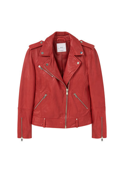 Leather Biker Jacket - pattern: plain; style: biker; collar: asymmetric biker; fit: slim fit; predominant colour: true red; occasions: casual; length: standard; fibres: leather - 100%; sleeve length: long sleeve; sleeve style: standard; texture group: leather; collar break: medium; pattern type: fabric; season: s/s 2016; wardrobe: highlight