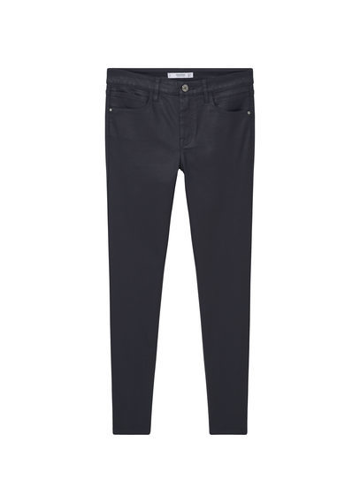 Waxed Skinny Belle Jeans - style: skinny leg; length: standard; pattern: plain; pocket detail: traditional 5 pocket; waist: mid/regular rise; predominant colour: black; occasions: casual; fibres: cotton - stretch; jeans detail: dark wash; texture group: denim; pattern type: fabric; season: s/s 2016; wardrobe: basic