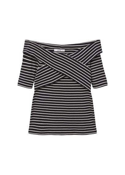 Striped Cotton T Shirt - neckline: slash/boat neckline; pattern: horizontal stripes; style: t-shirt; secondary colour: white; predominant colour: black; occasions: casual, evening; length: standard; fibres: cotton - 100%; fit: body skimming; sleeve length: short sleeve; sleeve style: standard; pattern type: fabric; texture group: jersey - stretchy/drapey; pattern size: big & busy (top); season: s/s 2016; wardrobe: basic