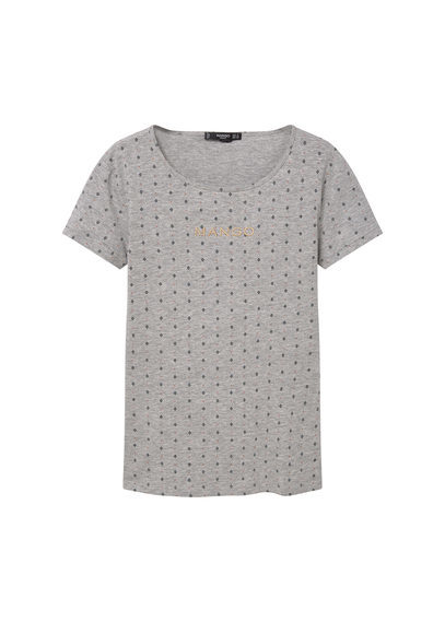 Logo Cotton T Shirt - neckline: round neck; style: t-shirt; pattern: polka dot; predominant colour: light grey; occasions: casual, creative work; length: standard; fibres: cotton - 100%; fit: straight cut; sleeve length: short sleeve; sleeve style: standard; pattern type: fabric; pattern size: light/subtle; texture group: jersey - stretchy/drapey; season: s/s 2016; wardrobe: highlight