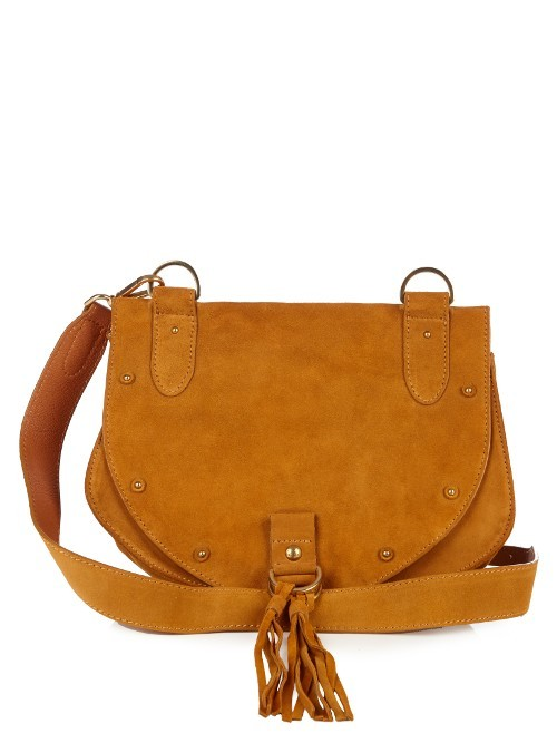 Collins Leather And Suede Cross Body Bag - predominant colour: camel; occasions: casual, creative work; type of pattern: standard; style: saddle; length: across body/long; size: small; material: suede; embellishment: tassels; pattern: plain; finish: plain; season: s/s 2016; wardrobe: basic