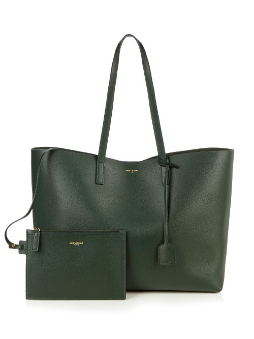 Large Classic Leather Tote - predominant colour: dark green; occasions: casual, creative work; type of pattern: standard; style: tote; length: handle; size: oversized; material: leather; pattern: plain; finish: plain; season: s/s 2016; wardrobe: highlight