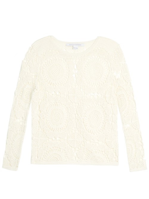 Nola Sweater - style: standard; predominant colour: ivory/cream; occasions: casual; length: standard; fibres: cotton - 100%; fit: slim fit; neckline: crew; sleeve length: long sleeve; sleeve style: standard; texture group: lace; pattern type: fabric; pattern: patterned/print; season: s/s 2016; wardrobe: highlight