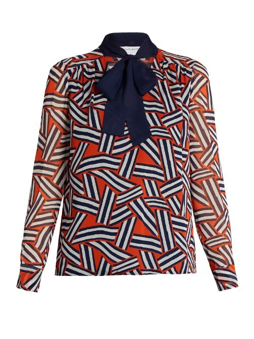 Britni Blouse - style: shirt; neckline: pussy bow; secondary colour: navy; predominant colour: bright orange; occasions: work, creative work; length: standard; fibres: silk - 100%; fit: straight cut; sleeve length: long sleeve; sleeve style: standard; texture group: silky - light; pattern type: fabric; pattern: patterned/print; pattern size: big & busy (top); season: s/s 2016; wardrobe: highlight