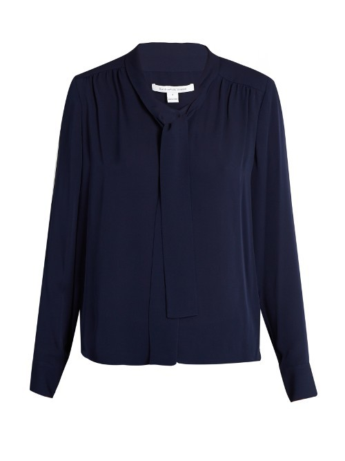 Britni Blouse - pattern: plain; neckline: pussy bow; style: blouse; predominant colour: navy; occasions: work; length: standard; fibres: silk - 100%; fit: body skimming; sleeve length: long sleeve; sleeve style: standard; texture group: crepes; pattern type: fabric; season: s/s 2016; wardrobe: highlight
