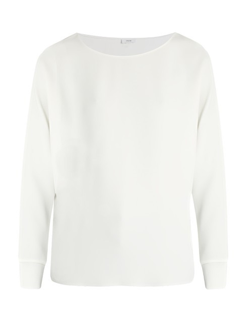 Ribbed Cuff Crepe Top - sleeve style: dolman/batwing; pattern: plain; predominant colour: white; occasions: casual, work, creative work; length: standard; style: top; neckline: scoop; fibres: polyester/polyamide - 100%; fit: body skimming; sleeve length: long sleeve; texture group: crepes; pattern type: fabric; season: s/s 2016; wardrobe: basic