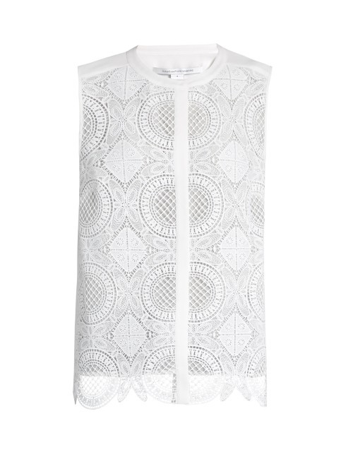 Lakyn Top - neckline: round neck; pattern: plain; sleeve style: sleeveless; predominant colour: white; occasions: casual, creative work; length: standard; style: top; fibres: silk - 100%; fit: straight cut; sleeve length: sleeveless; texture group: silky - light; pattern type: fabric; embellishment: lace; season: s/s 2016; wardrobe: highlight