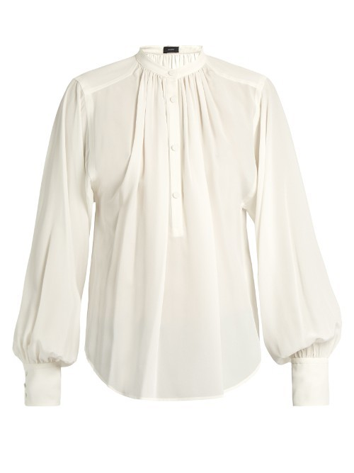 Vita Silk Crepe De Chine Blouse - pattern: plain; neckline: high neck; style: blouse; predominant colour: white; occasions: evening; length: standard; fibres: silk - 100%; fit: body skimming; sleeve length: long sleeve; sleeve style: standard; texture group: crepes; pattern type: fabric; season: s/s 2016; wardrobe: event; trends: statement sleeves