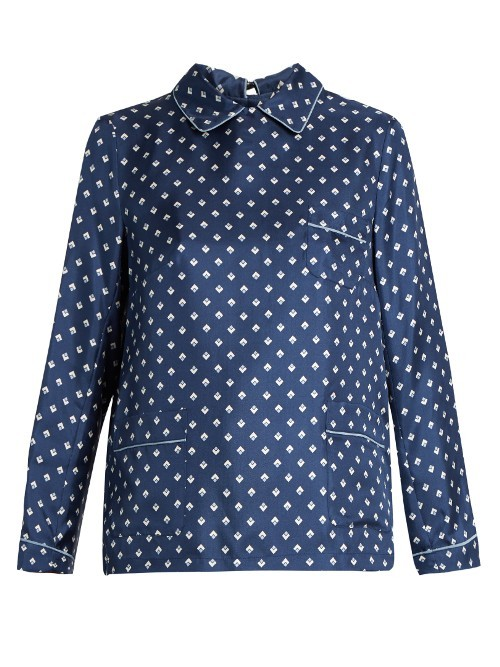 Midas Shirt - style: shirt; pattern: polka dot; predominant colour: navy; secondary colour: light grey; occasions: casual; length: standard; fibres: silk - 100%; fit: body skimming; neckline: no opening/shirt collar/peter pan; sleeve length: long sleeve; sleeve style: standard; pattern type: fabric; texture group: other - light to midweight; multicoloured: multicoloured; season: s/s 2016