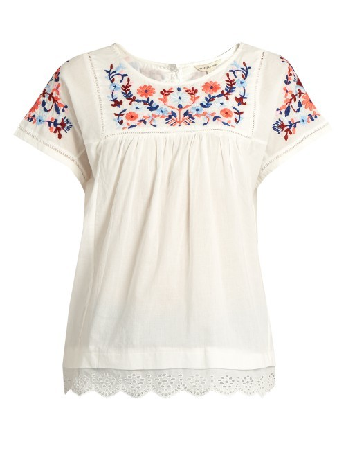 Floral Embroidered Cotton Top - neckline: round neck; pattern: plain; predominant colour: ivory/cream; occasions: casual; length: standard; style: top; fibres: cotton - 100%; fit: body skimming; sleeve length: short sleeve; sleeve style: standard; pattern type: fabric; texture group: jersey - stretchy/drapey; embellishment: embroidered; season: s/s 2016; wardrobe: highlight