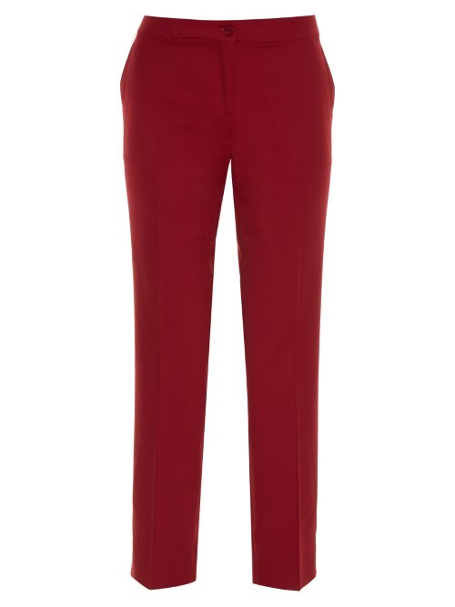 Straight Leg Cropped Trousers - pattern: plain; pocket detail: pockets at the sides; waist: mid/regular rise; predominant colour: true red; occasions: work, creative work; length: ankle length; fibres: wool - stretch; fit: straight leg; pattern type: fabric; texture group: other - light to midweight; style: standard; season: s/s 2016; wardrobe: highlight
