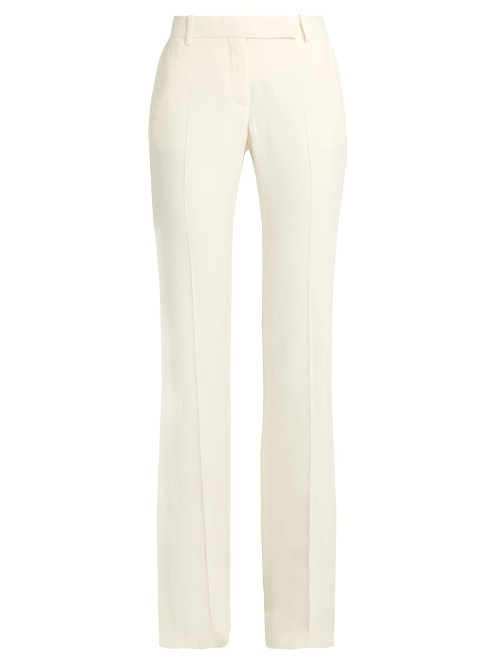 Mid Rise Tailored Kick Flare Trousers - length: standard; pattern: plain; waist: high rise; predominant colour: ivory/cream; occasions: occasion, creative work; texture group: crepes; fit: flares; pattern type: fabric; style: standard; fibres: viscose/rayon - mix; season: s/s 2016; wardrobe: basic