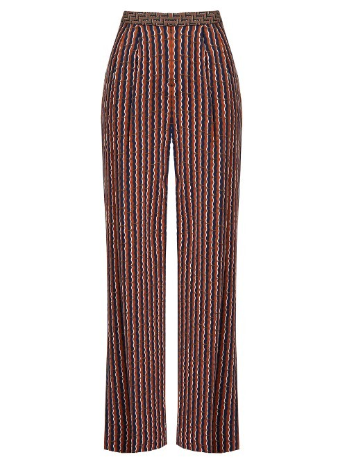 Campbell Trousers - length: standard; pattern: pinstripe; waist: high rise; predominant colour: burgundy; occasions: casual, creative work; fibres: silk - mix; fit: wide leg; pattern type: fabric; texture group: woven light midweight; style: standard; pattern size: big & busy (bottom); season: s/s 2016; wardrobe: highlight