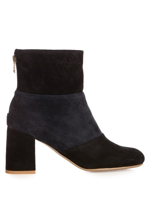 Mila Bi Colour Suede Ankle Boots - predominant colour: black; occasions: casual, creative work; material: suede; heel height: high; heel: standard; toe: round toe; boot length: ankle boot; style: standard; finish: plain; pattern: colourblock; season: s/s 2016; wardrobe: highlight