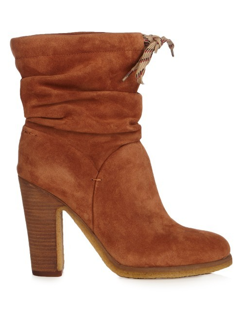 Jona Suede Ankle Boots - predominant colour: tan; occasions: casual, creative work; material: suede; heel height: high; heel: block; toe: round toe; boot length: ankle boot; style: standard; finish: plain; pattern: plain; season: s/s 2016; wardrobe: highlight