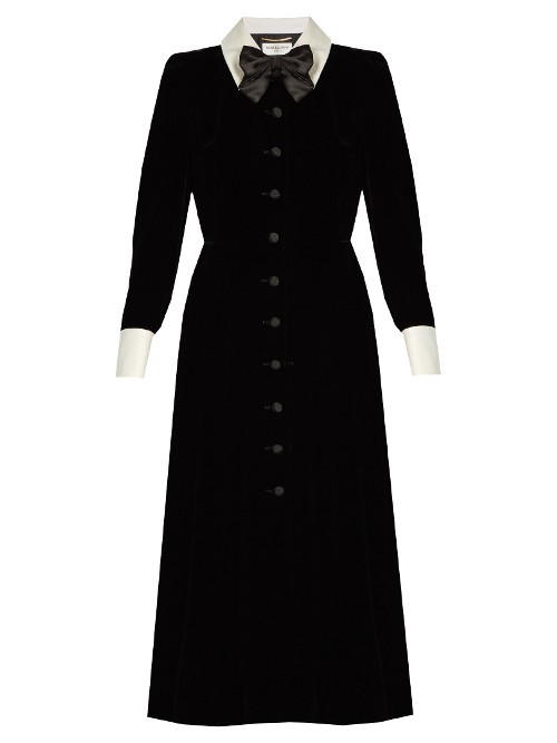 Lavallière Neck Velvet Midi Dress - length: calf length; neckline: shirt collar/peter pan/zip with opening; pattern: plain; secondary colour: white; predominant colour: black; occasions: evening; fit: fitted at waist & bust; style: fit & flare; sleeve length: long sleeve; sleeve style: standard; pattern type: fabric; texture group: velvet/fabrics with pile; fibres: viscose/rayon - mix; season: s/s 2016; wardrobe: event