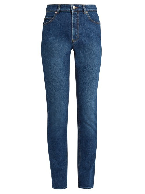 High Waisted Skinny Jeans - style: skinny leg; length: standard; pattern: plain; waist: high rise; pocket detail: traditional 5 pocket; predominant colour: denim; occasions: casual; fibres: cotton - stretch; jeans detail: dark wash; texture group: denim; pattern type: fabric; season: s/s 2016; wardrobe: basic
