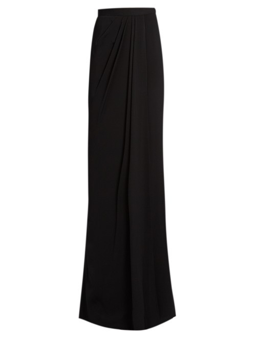 High Rise Draped Maxi Skirt - pattern: plain; fit: loose/voluminous; waist: mid/regular rise; predominant colour: black; occasions: evening; length: floor length; style: maxi skirt; fibres: silk - 100%; pattern type: fabric; texture group: other - light to midweight; season: s/s 2016; wardrobe: event