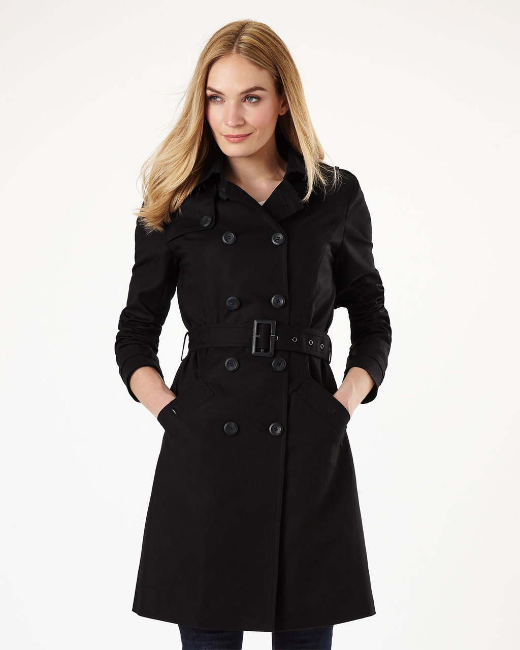 Tabatha Trench Coat - pattern: plain; style: trench coat; length: on the knee; collar: standard lapel/rever collar; predominant colour: black; occasions: casual; fit: tailored/fitted; fibres: cotton - stretch; waist detail: belted waist/tie at waist/drawstring; sleeve length: long sleeve; sleeve style: standard; texture group: technical outdoor fabrics; collar break: medium; pattern type: fabric; season: s/s 2016; wardrobe: basic
