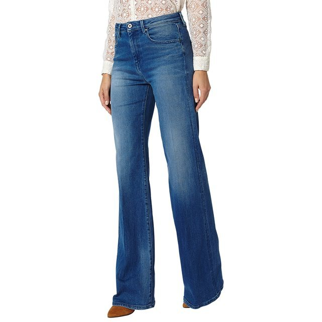 Strand Flared Jeans - style: flares; length: standard; pattern: plain; waist: high rise; pocket detail: traditional 5 pocket; predominant colour: denim; occasions: casual, creative work; fibres: cotton - stretch; jeans detail: shading down centre of thigh; texture group: denim; pattern type: fabric; season: s/s 2016; wardrobe: basic