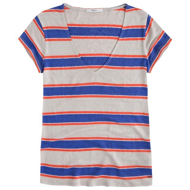 Celeste Striped Linen T Shirt - neckline: low v-neck; pattern: horizontal stripes; style: t-shirt; predominant colour: royal blue; secondary colour: light grey; occasions: casual; length: standard; fibres: linen - 100%; fit: straight cut; sleeve length: short sleeve; sleeve style: standard; pattern type: fabric; texture group: jersey - stretchy/drapey; pattern size: big & busy (top); season: s/s 2016; wardrobe: highlight