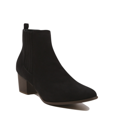 Chelsea Ankle Boots Black - predominant colour: black; occasions: casual, creative work; material: suede; heel height: mid; heel: block; toe: pointed toe; boot length: ankle boot; finish: plain; pattern: plain; style: chelsea; season: s/s 2016; wardrobe: basic