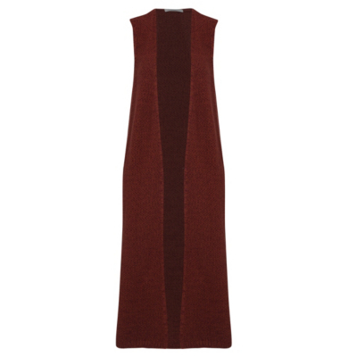 Knitted Sleeveless Jacket Red - pattern: plain; sleeve style: sleeveless; collar: round collar/collarless; length: below the knee; predominant colour: burgundy; occasions: casual, creative work; fit: tailored/fitted; fibres: cotton - mix; style: waistcoat; sleeve length: sleeveless; collar break: high; pattern type: knitted - fine stitch; texture group: jersey - stretchy/drapey; season: s/s 2016; wardrobe: highlight