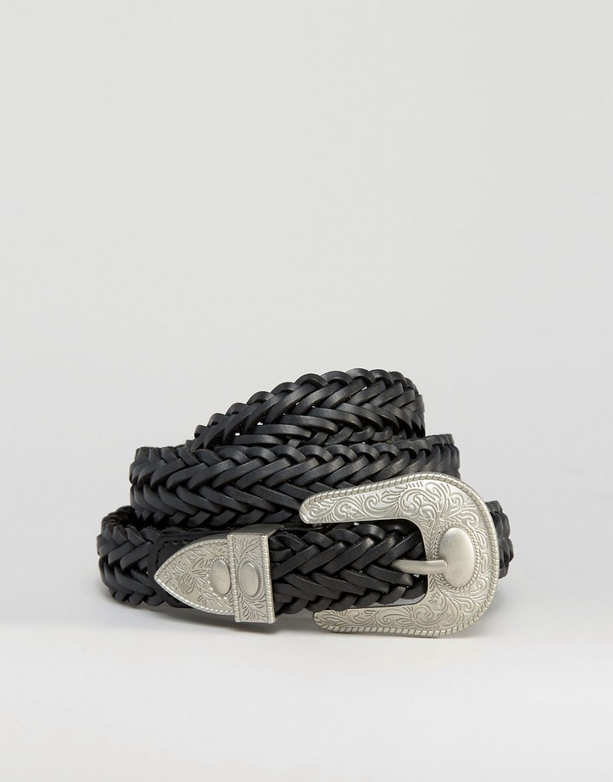 Leather Plaited Western Belt Black - predominant colour: black; occasions: casual, creative work; type of pattern: standard; style: plaited/woven; size: standard; worn on: hips; material: leather; pattern: plain; finish: plain; season: s/s 2016