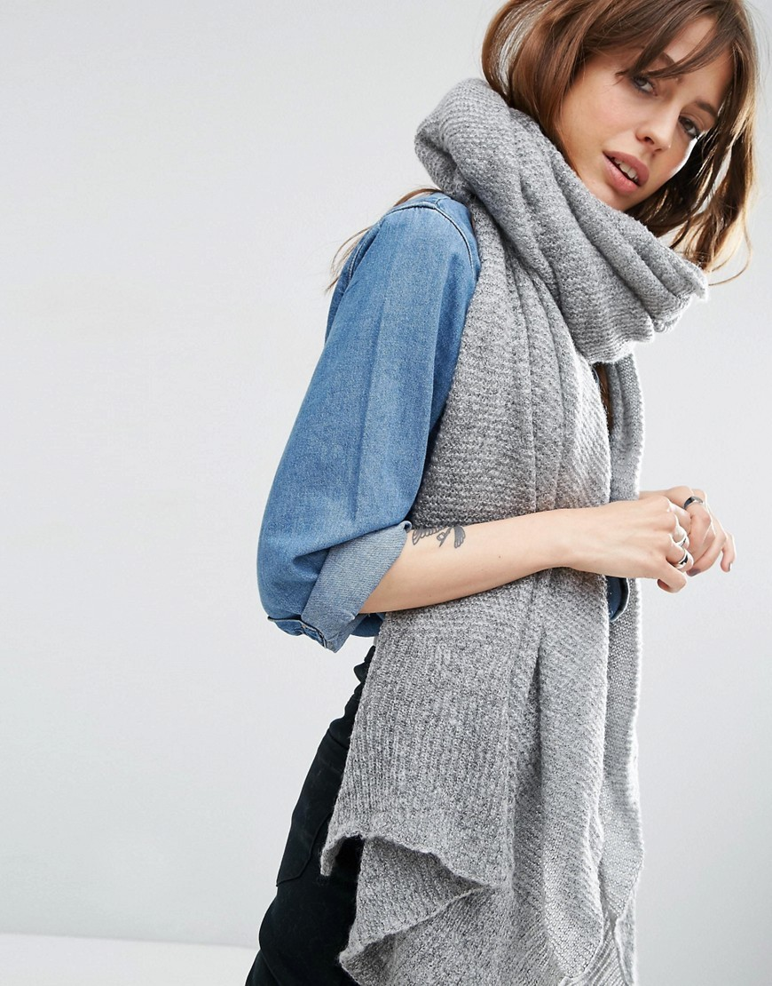 Oversized Knit Scarf Grey - predominant colour: mid grey; occasions: casual, creative work; type of pattern: standard; style: regular; size: large; material: fabric; pattern: plain; season: s/s 2016; wardrobe: basic