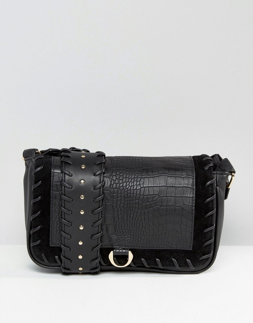 Tie Detail Shoulder Bag Black - predominant colour: black; occasions: casual, creative work; type of pattern: standard; style: shoulder; length: shoulder (tucks under arm); size: small; material: faux leather; embellishment: studs; pattern: plain; finish: plain; season: s/s 2016; wardrobe: investment