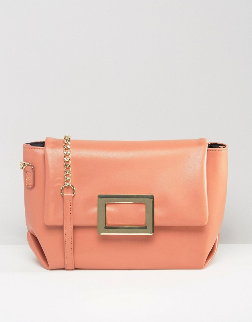 Soft Shoulder Bag With Metal Clasp Nude - predominant colour: nude; occasions: casual, creative work; type of pattern: small; style: shoulder; length: shoulder (tucks under arm); size: small; material: faux leather; pattern: plain; finish: plain; season: s/s 2016; wardrobe: investment