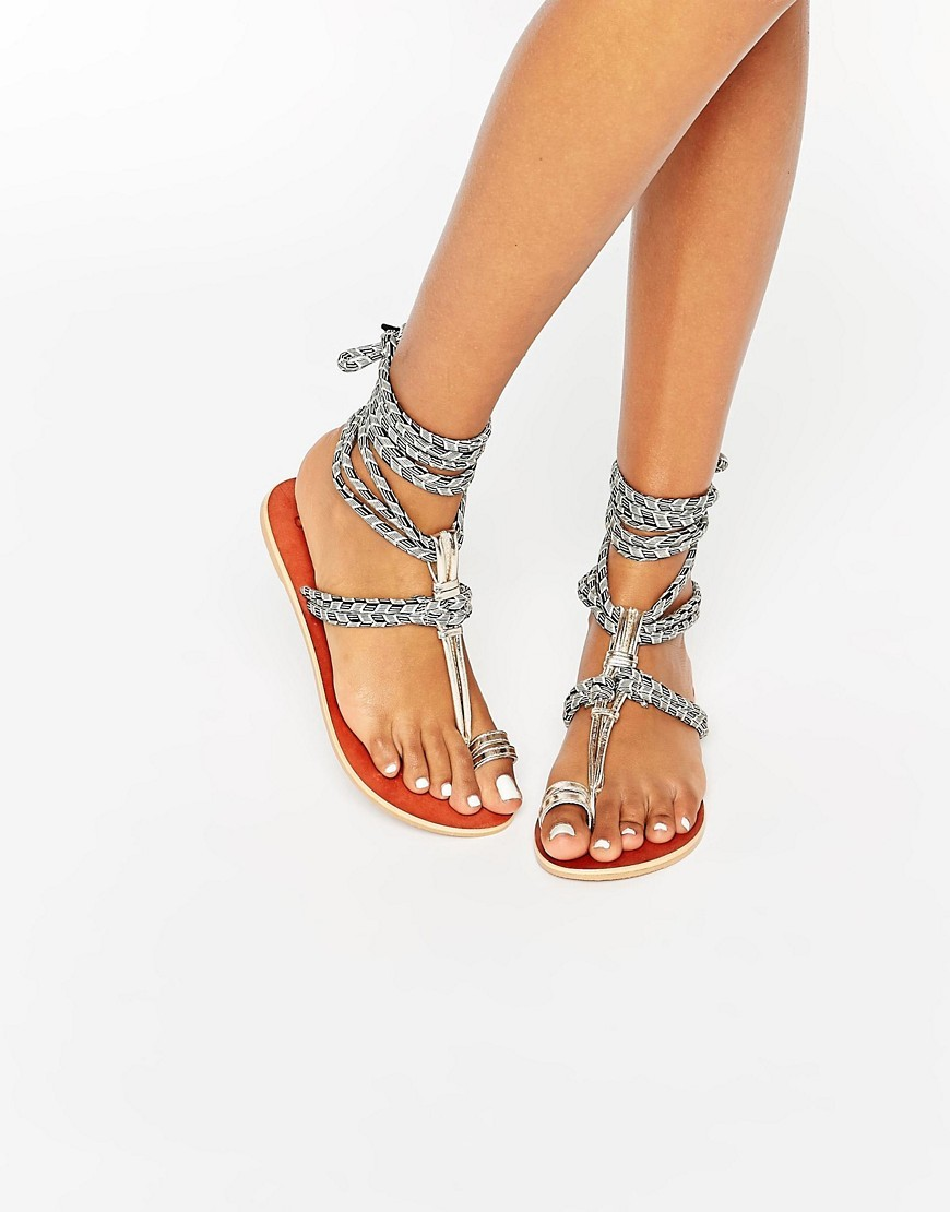 Factual Tie Leg Sandals Multi Print - predominant colour: black; occasions: casual, holiday; material: fabric; heel height: flat; ankle detail: ankle strap; heel: block; toe: toe thongs; style: strappy; finish: plain; pattern: patterned/print; season: s/s 2016; wardrobe: highlight