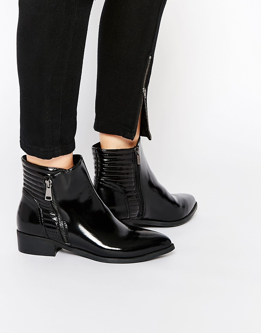 Quilted Patent Ankle Boots Black - predominant colour: black; occasions: casual, creative work; material: faux leather; heel height: mid; embellishment: quilted; heel: block; toe: round toe; boot length: ankle boot; style: standard; finish: patent; pattern: plain; season: s/s 2016; wardrobe: basic