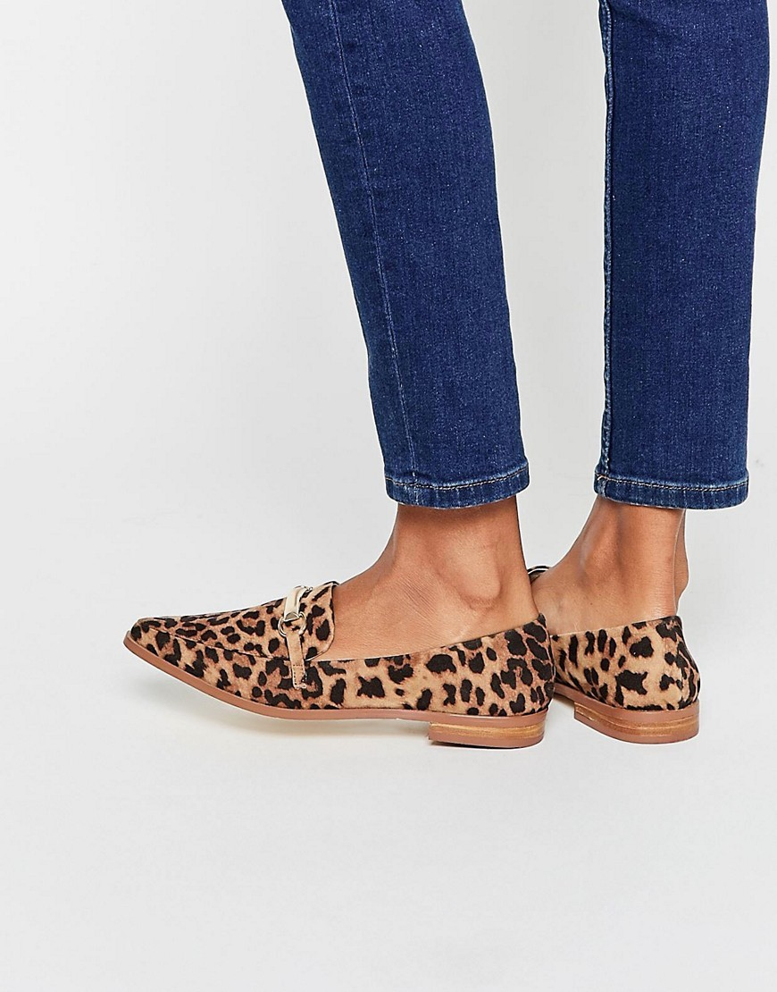 Mysterious Pointed Loafers Leopard - predominant colour: camel; secondary colour: black; occasions: casual, creative work; material: fabric; heel height: flat; toe: pointed toe; style: loafers; finish: plain; pattern: animal print; season: s/s 2016; wardrobe: highlight