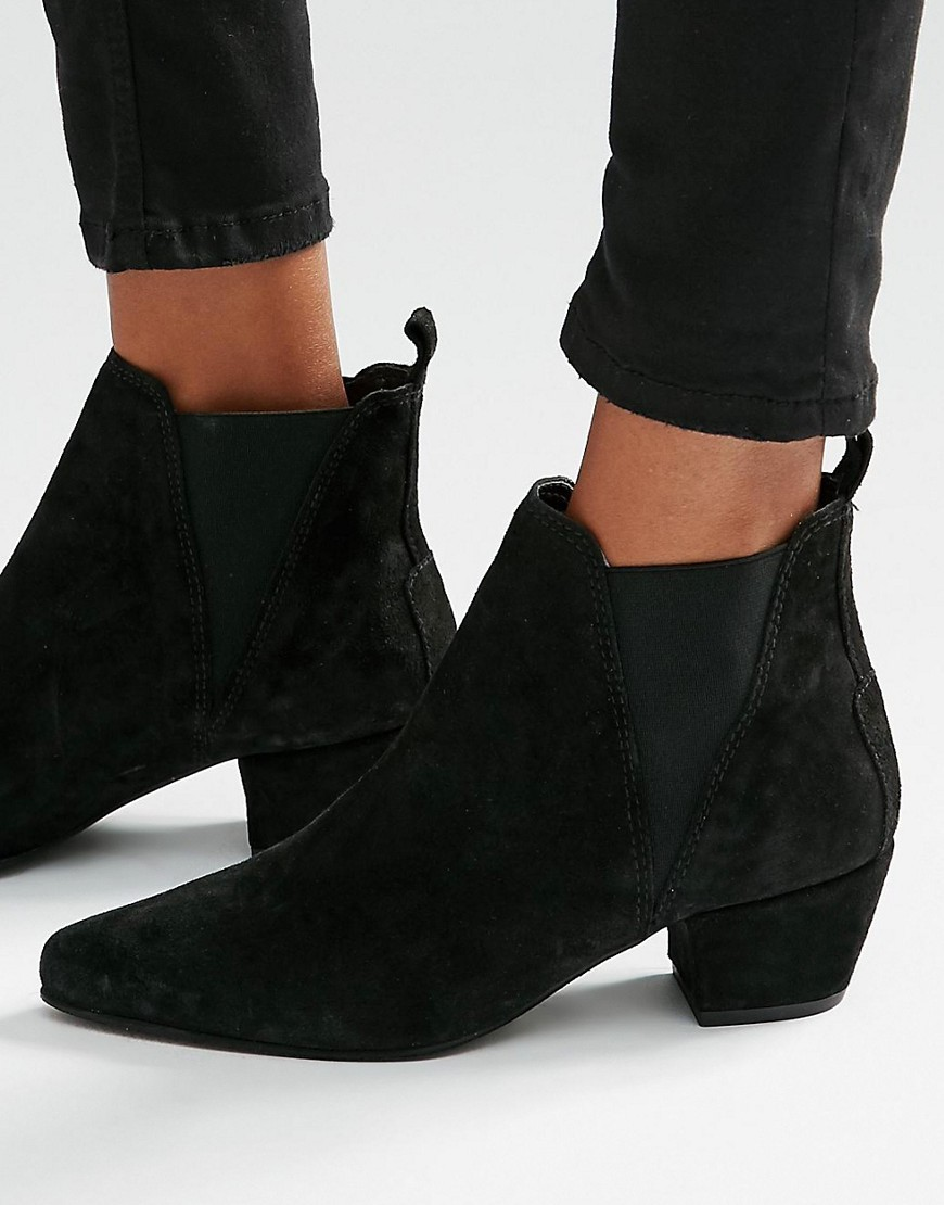 Suede Low Heeled Chelsea Boot Black - predominant colour: black; occasions: casual, creative work; material: suede; heel height: mid; heel: block; toe: pointed toe; boot length: ankle boot; style: standard; finish: plain; pattern: plain; season: s/s 2016; wardrobe: basic