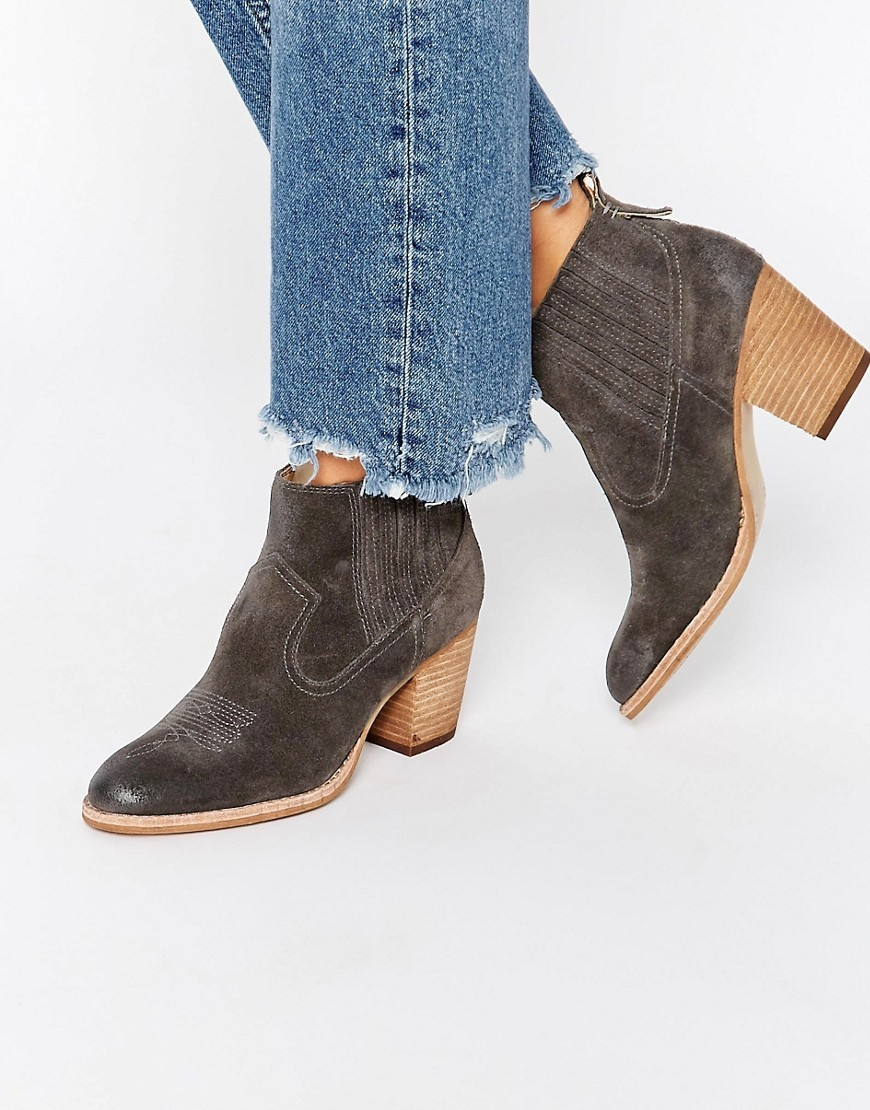Jones Suede Stack Heeled Ankle Boots Anthracite Suede - predominant colour: charcoal; occasions: casual, creative work; material: suede; heel height: mid; heel: block; toe: round toe; boot length: ankle boot; style: cowboy; finish: plain; pattern: plain; season: s/s 2016; wardrobe: basic