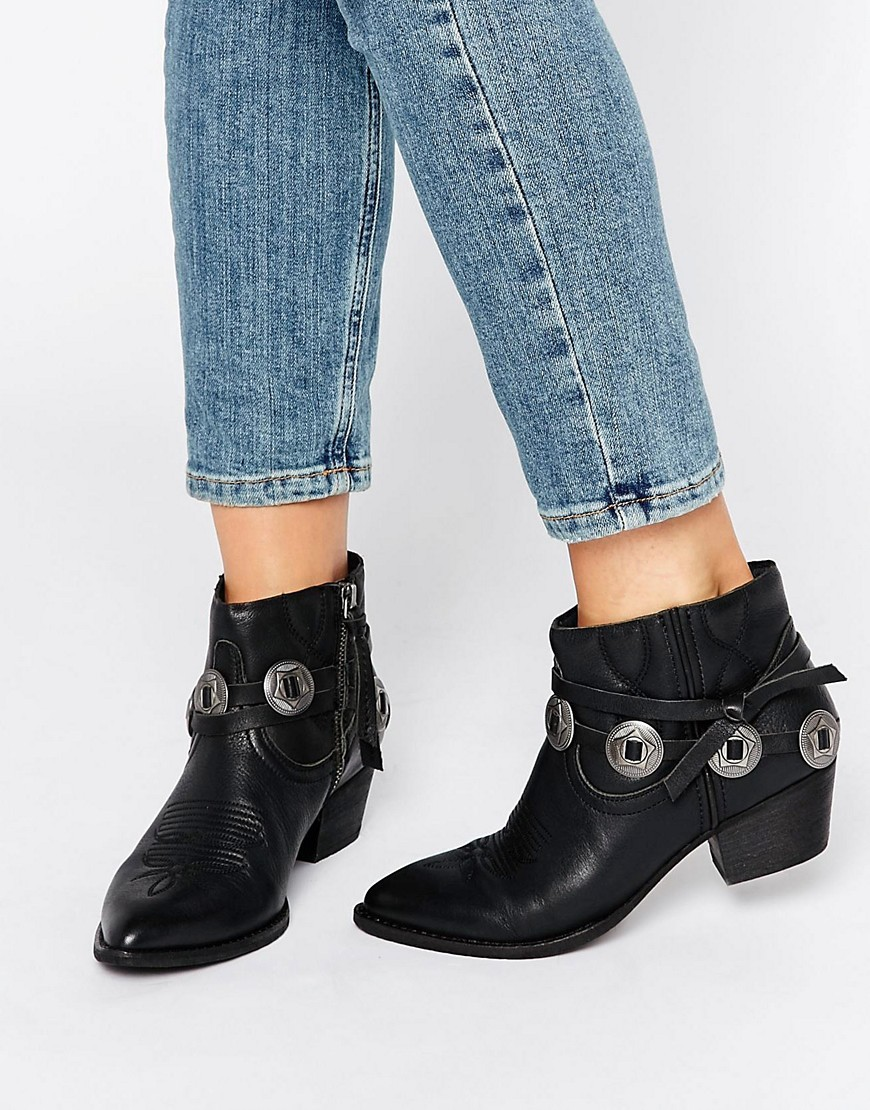 Skye Leather Western Heeled Ankle Boots Black Leather - predominant colour: black; occasions: casual, creative work; material: leather; heel height: mid; heel: block; toe: round toe; boot length: ankle boot; style: cowboy; finish: plain; pattern: plain; embellishment: chain/metal; season: s/s 2016; wardrobe: highlight