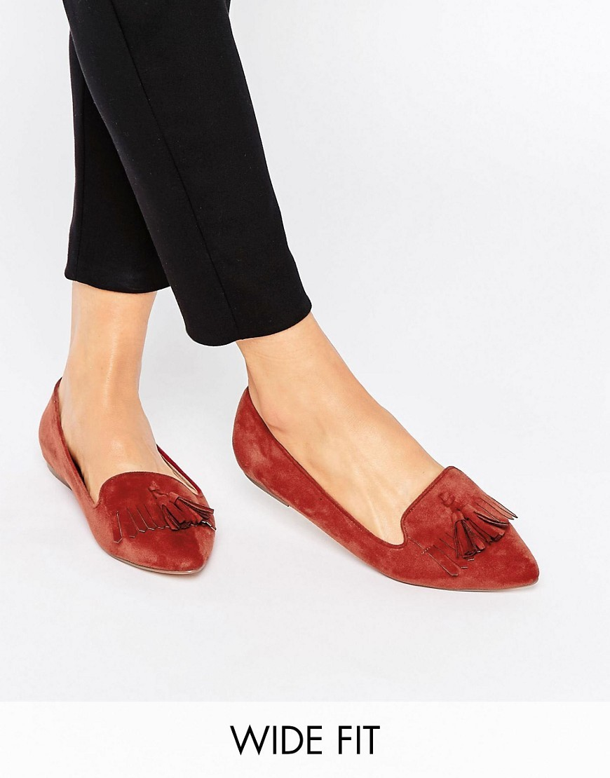 Leo Wide Fit Ballet Flats Rust - predominant colour: tan; occasions: casual, creative work; material: suede; heel height: flat; embellishment: tassels; toe: pointed toe; style: ballerinas / pumps; finish: plain; pattern: plain; season: s/s 2016