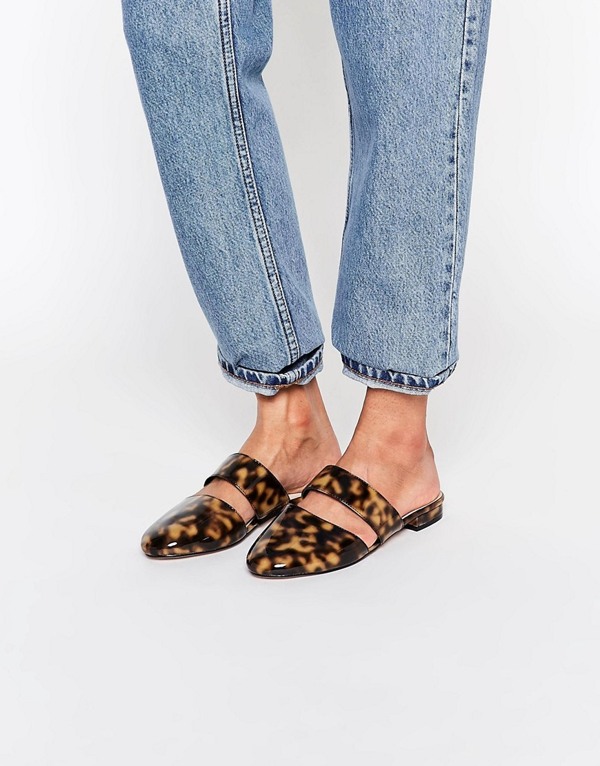 Limehouse Mule Ballet Flats Tortoise - secondary colour: camel; predominant colour: black; occasions: casual, creative work; material: fabric; heel height: flat; toe: round toe; style: ballerinas / pumps; finish: plain; pattern: animal print; season: s/s 2016; wardrobe: highlight