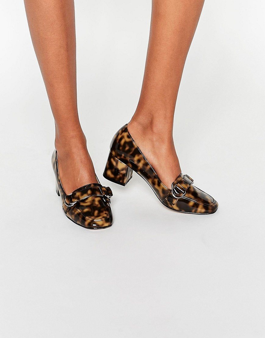 On Time Square Toe Loafers Tortoise Shell - secondary colour: camel; predominant colour: black; occasions: casual, creative work; heel height: flat; toe: round toe; style: loafers; finish: plain; pattern: animal print; material: faux suede; season: s/s 2016; wardrobe: highlight