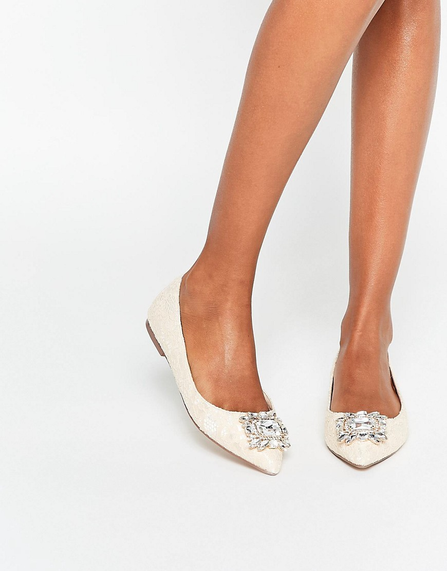 Look Up Embellished Ballet Flats Nude Lace - predominant colour: nude; occasions: evening, occasion; material: faux leather; heel height: flat; embellishment: crystals/glass; toe: pointed toe; style: ballerinas / pumps; finish: plain; pattern: plain; season: s/s 2016; wardrobe: basic